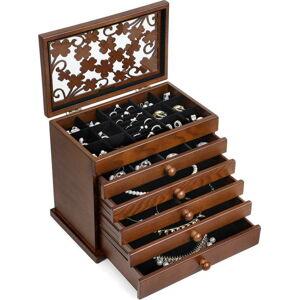 Dřevěná šperkovnice s 5 zásuvkami Songmics