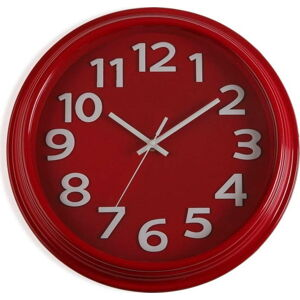 Červené nástěnné hodiny Versa In Time, ⌀ 32,7 cm