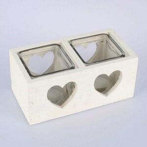 Bílý dřevěný svícen na dvě svíčky Dakls Heart