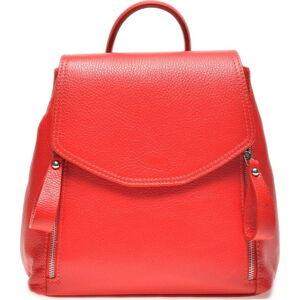 Červený kožený batoh Carla Ferreri