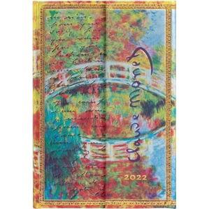 Týdenní diář s magnetickým zavíráním na rok 2022 Paperblanks Monet (Bridge), Letter to Morisot, 10 x 14 cm