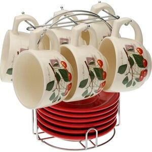 Set 6 čajových šálků s podšálky se stojánkem Versa Cherry, 210ml