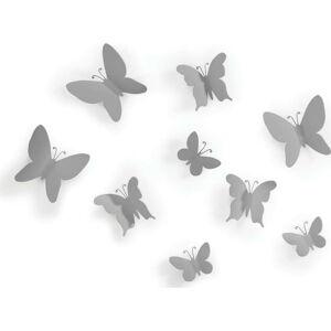 Sada 9 šedých nástěnných 3D dekorací Umbra Butterflies