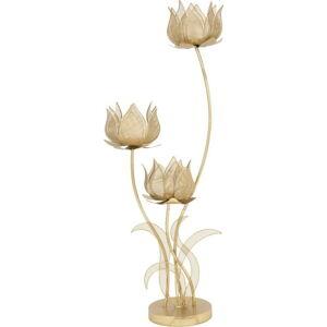 Železný svícen na 3 svíčky ve zlaté barvě Mauro Ferretti Flowery, výška 97 cm