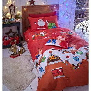 Červené vánoční povlečení Catherine Lansfield, 200 x 200 cm