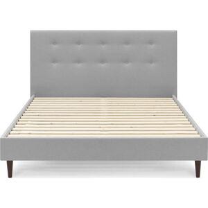 Šedá dvoulůžková postel Bobochic Paris Rory Dark, 160 x 200 cm