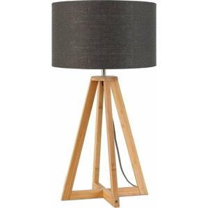 Stolní lampa s tmavě šedým stínidlem a konstrukcí z bambusu Good&Mojo Everest