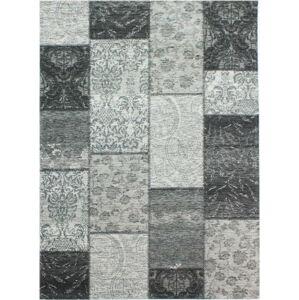 Tmavě šedý koberec Flair Rugs Patchwork Chennile Black Grey, 155 x 230 cm