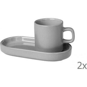 Sada 2 šedých hrnků s na espresso táckem Blomus Pilar