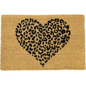 Černá rohožka z přírodního kokosového vlákna Artsy Doormats Leopard Heart, 40x60cm