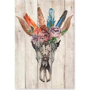 Nástěnná dekorace z borovicového dřeva Madre Selva Deer Skull, 60 x 40 cm