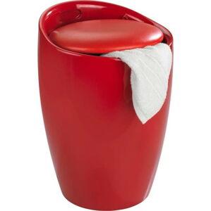 Červený koš na prádlo a taburetka v jednom Wenko Candy, 20 l