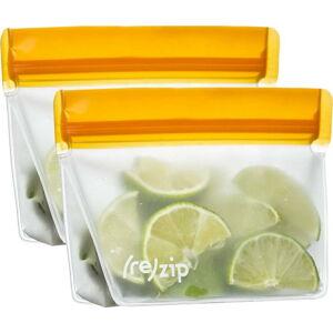 Sada 2 oranžových svačinových sáčků (re)zip Essential,230ml