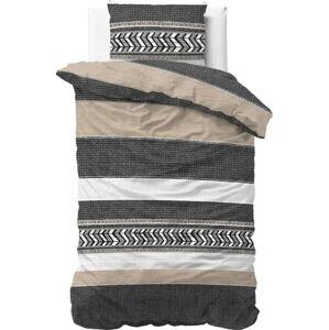 Šedé bavlněné povlečení na jednolůžko Pure Cotton Northern Stripe,140x200/220cm