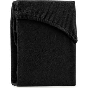 Černé elastické prostěradlo na dvoulůžko AmeliaHome Ruby Siesta, 180/200 x 200 cm