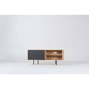 Černý TV stolek z dubového dřeva Gazzda Nero, šířka 150 cm