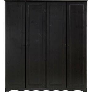 Tmavě hnědá čtyřdveřová šatní skříň z masivního borovicového dřeva Støraa Amanda