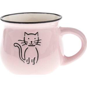Růžový keramický hrneček s obrázkem kočky Dakls, objem 0,3 l