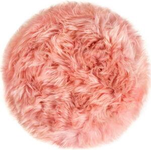 Růžový podsedák z ovčí kožešiny na jídelní židli Royal Dream Zealand Round, ⌀ 35cm