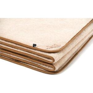 Hnědo-béžová deka z velbloudí vlny Royal Dream Cappucino, 140x200 cm