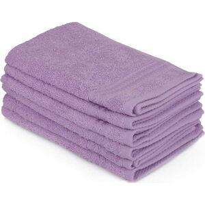 Sada 6 fialových ručníků do koupelny, 50 x 30 cm