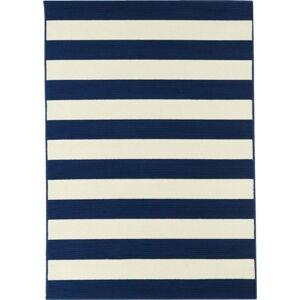 Modro-bílý venkovní koberec Floorita Stripes, 133 x 190 cm