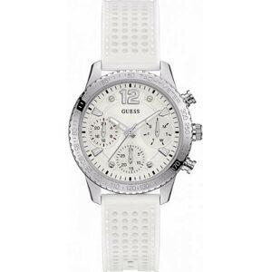 Dámské hodinky s bílým silikonovým páskem Guess W1025L1
