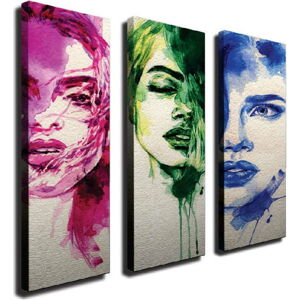 3dílný nástěnný obraz na plátně Faces