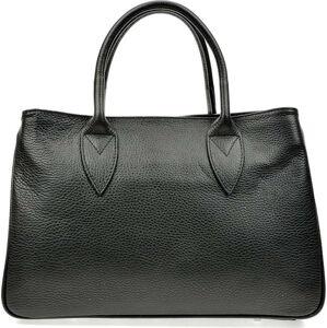 Černá kožená kabelka Anna Luchini, 23 x 34.5 cm