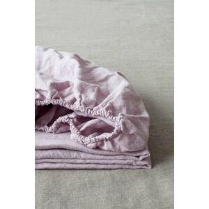 Levandulově fialové lněné elastické prostěradlo Linen Tales, 180 x 200 cm