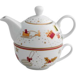 Porcelánová konvice na čaj s šálkem Brandani Alleluia Porcelain, délka 15 cm