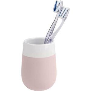Růžovo-bílý keramický kelímek na zubní kartáčky Wenko Matta