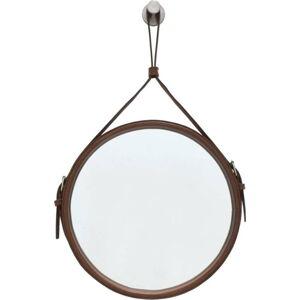 Závěsné zrcadlo v hnědém rámu RGE Elvis, ø 60 cm