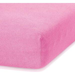 Tmavě růžové elastické prostěradlo s vysokým podílem bavlny AmeliaHome Ruby, 200 x 160-180 cm