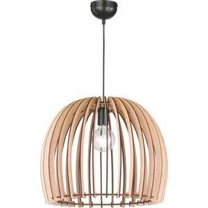 Krémově béžové závěsné svítidlo ze dřeva a kovu Trio Wood, výška 150 cm