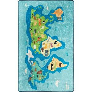 Modrý dětský protiskluzový koberec Chilai Map,200x290cm