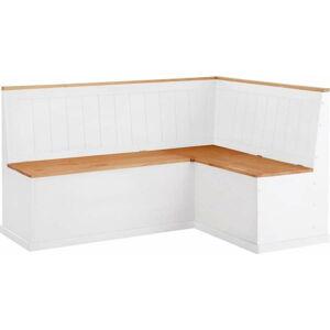 Bílá rohová lavice z borovicového dřeva s úložným prostorem Støraa Silas