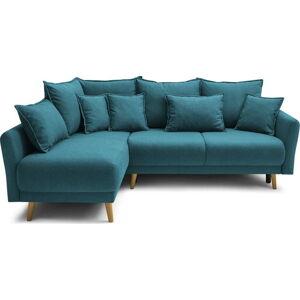 Tyrkysově modrá rohová rozkládací pohovka Bobochic Paris Mia, levý roh