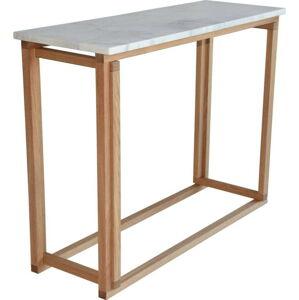 Bílý mramorový konferenční konferenční stolek s podnožím z dubového dřeva RGE Accent, šířka100cm