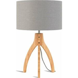 Stolní lampa se světle šedým stínidlem a konstrukcí z bambusu Good&Mojo Annapurna