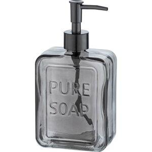 Šedý skleněný dávkovač na mýdlo Wenko Pure Soap