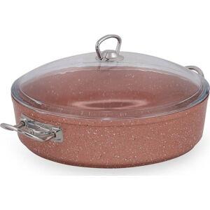Růžový nízký hliníkový hrnec s poklicí Güral Porselen Classic,ø30cm