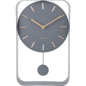 Šedé nástěnné hodiny s kyvadlem Karlsson Charm, výška 32,5 cm