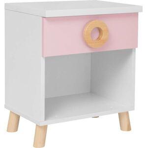Růžovo-bílý noční stolek KICOTI Circle