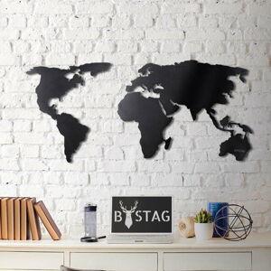 Nástěnná kovová dekorace Black Map, 60x120 cm