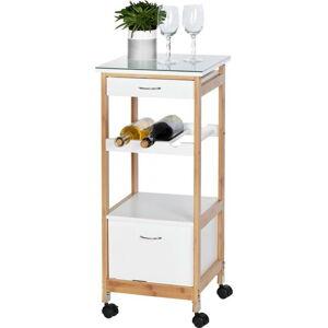Pojízdný servírovací stolek z bambusového dřeva na kolečkách Wenko Finja