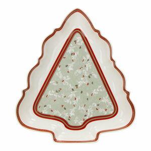 Porcelánový talíř ve tvaru stromečku Brandani Antipastiera Albero Connubio, délka 26 cm