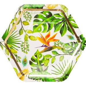 Sada 8 papírových talířů GiviItalia Golden Jungle, ⌀ 18 cm