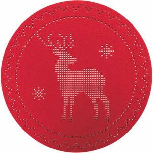 Sada 6 červených plstěných vánočních prostírání Villa d'Este Renna,ø38cm