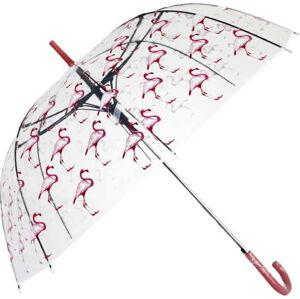 Transparentní holový deštník Ambiance Flamingos, ⌀100cm